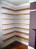 hand made to measure study pine shelves
